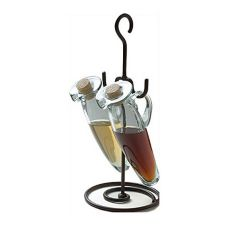 Orion I1417-R/NN Rustic Iron Stand with 2 Natural Glass Cruets
