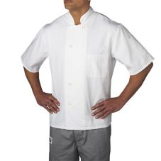 Chefwear® Medium White Three-Star Chef Jacket with Plastic Buttons