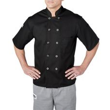 Chefwear® Medium Black Three-Star Chef Jacket with Plastic Buttons