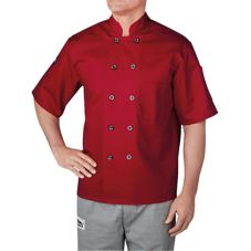 Chefwear® 4455-78 SM Small Red Three-Star Chef Jacket with Buttons
