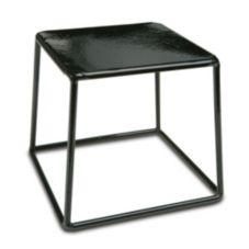 """Delfin TR-766-PL10 7"""" x 7"""" x 6"""" Black Steel Square Cube Riser"""