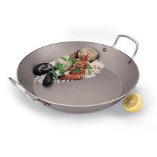 "Paderno A4172345 Carbon Steel 17-3/4"" x 2-1/8"" Paella Pan"