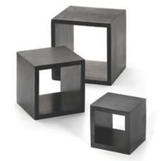 TableCraft WBK3 Black 3-Piece Square Wood Riser Set