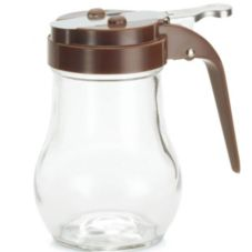 Tablecraft Glass Teardrop 6 Oz Dispenser with Brown ABS Top