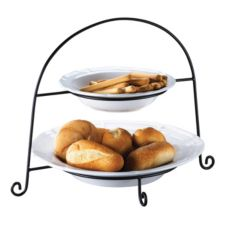 Browne Foodservice 563865 Waltz 3-Piece Ceramic Bowl Set with Stand