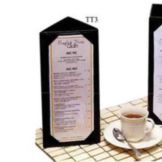 Menu Solutions Brown 3-Sided Table Tent Holds 4 x 6 Insert