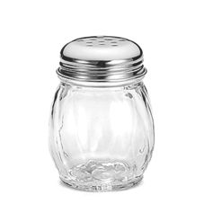 Tablecraft Swirl Glass 6 Oz Cheese Shaker with Perforated S/S Lid