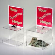"Clear Solutions Clear 8"" Donation Box w/ Sign Holder & Lock"