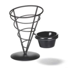 "TableCraft ACR57 Vertigo Collection 7"" Black Appetizer Cone"