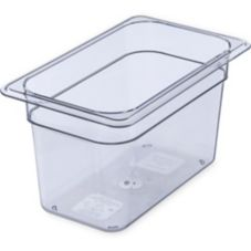 "Carlisle® 1028207 Top Notch Clear 1/4-Size 6"" Deep Food Pan"