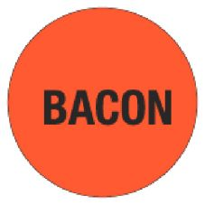 "DayDots 10401-16-11 1"" Red ""Bacon"" Cold Temp. Deli Label - 1000 / RL"
