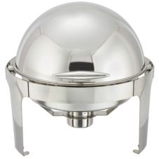 Winco™ 602 Madison 18/10 S/S 6 Qt. Round Roll Top Chafer