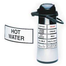 "Cal-Mil® 338-HOT WATER Magnetic 3""HOT WATER"" Airpot Sign"