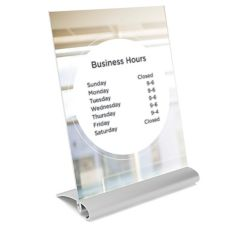 "Visual Graphic Aero Linea Silver Base 8-1/2 x 11-1/2"" Sign Holder"