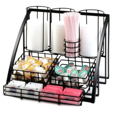 Cal-Mil 1715-13 Mission Black Wire Condiment / Lid Organizer