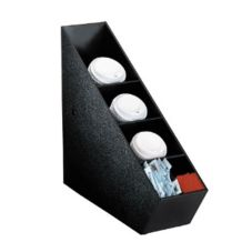 Dispense-Rite 5-Section Black Polystyrene Lid Dispenser