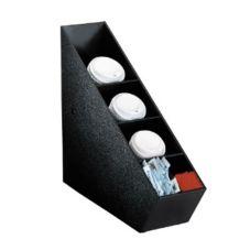 Dispense-Rite 5-Section Black Polystyrene Lid Dispenser