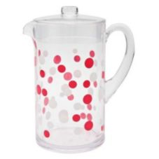 Zak! Red / White / Clear Dot 2 Qt. Pitcher