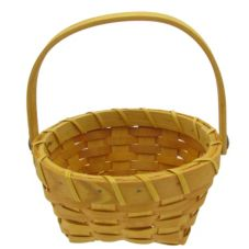 Betsys Baskets Round 7 x 7 x 3-1/2-In. Chipwood Basket w/ Flip Handle