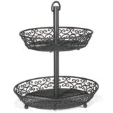 TableCraft BKT2A Mediterranean Collection Black Metal 2-Tier Display