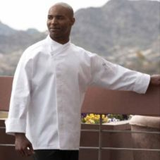 Uncommon Thread 0489-WHITE-4XL Poly Cotton Twill Chef Santorini Coat