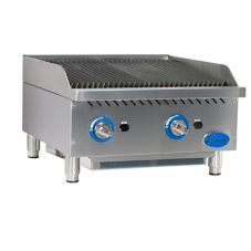 "Globe Food GCB24G-RK Countertop 24"" Char Rock Gas Charbroiler"