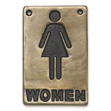 "TableCraft 465634 4"" x 6"" Bronze Women Restroom Sign"