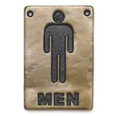 "TableCraft 465635 4"" x 6"" Bronze Men Restroom Sign"