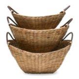 Tag 440121 Bamboo Water Hyacinth Basket Set With Metal Frame - 2 / PK
