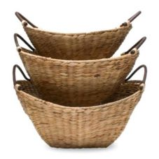 Tag 440121 Bamboo Water Hyacinth Basket Set With Metal Frame - 2 / PK