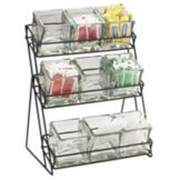 Cal-Mil® 1812-13 Black Wire 3-Tier Glass Jar Display with 9 Jars
