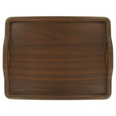 "Wescon 09 4700 Walnut 18"" x 14"" Woodgrain Room Service Tray"