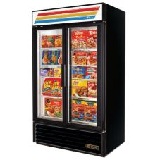 True GDM-43F Black Exterior 2-Section 40.6 Cu Ft Freezer Merchandiser