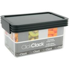 ClickClack® 501006 1 Qt. Clear Storer With Charcoal Lid - 4 / CS