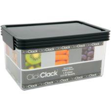 ClickClack® 502006 2 Qt. Clear Storer With Charcoal Lid - 4 / CS