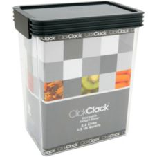 ClickClack® 504006 2.5 Qt. Clear Storer With Charcoal Lid - 4 / CS