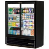True® GDM-41SL-60 Black Exterior Low Profile 2-Door Slide Cooler
