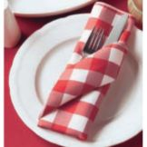 "Snap Drape Red / White Visa Checkpoint Plain 20 x 20"" Napkin"