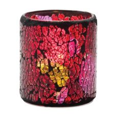 Hollowick Red and Gold Crackle Glass Votive