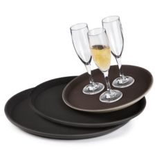 "G.E.T.® 14"" Round Brown Serving Tray"