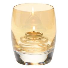 Hollowick® 6404G Gold Lustre Contour Glass Votive Lamp