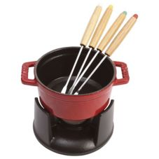 Staub USA 1400406 Cherry Cast Iron .25 Qt Mini Chocolate Fondue Set