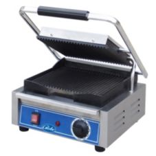 Globe Single Bistro Series Panini Grill with Grooved Plates