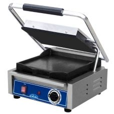 Globe Single Bistro Series Panini Grill with Smooth Plates