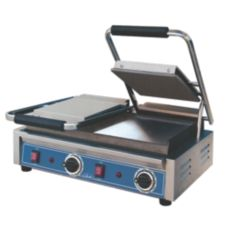 "Globe Food GSGDUE10 Bistro 10"" Dual Panini Grill w/ Smooth Plates"