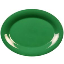 "Thunder Group CR212GR Green Oval 12"" x 9"" Platter - Dozen"