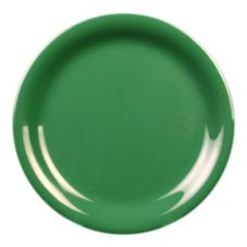 "Thunder Group CR106GR Green Narrow Rim 6-1/2"" Plate - Dozen"