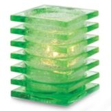 Hollowick 1501LGRJ Lime Green Jewel Stacked Square Block Glass Lamp