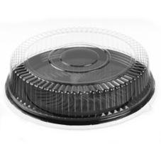 Par-Pak® 51840-C Ebony™ 2 Round PETE Tray With Lid - 25 / CS