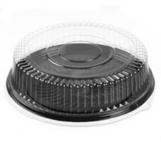 "Par-Pak 51640-C Round 16-1/2"" Black Catering Tray With Lid - 25 / CS"